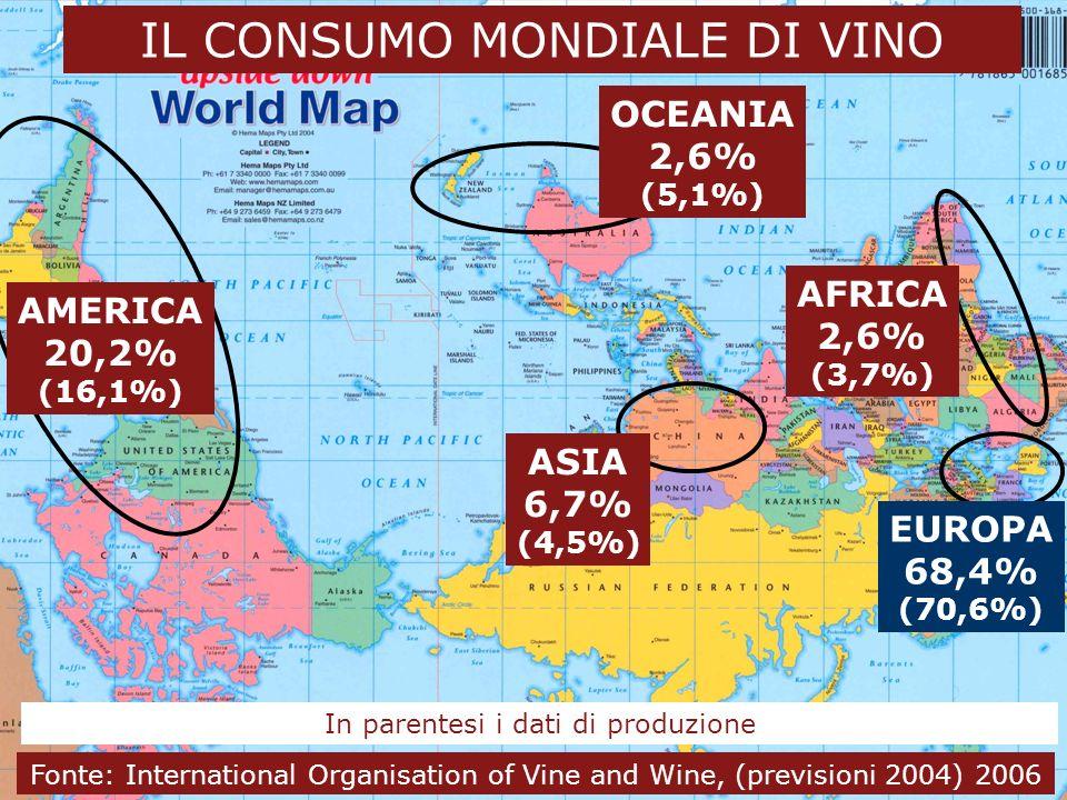 24 novembre 2006 4 Dal vino al wine business IL CONSUMO MONDIALE DI VINO EUROPA 68,4% (70,6%) AMERICA 20,2% (16,1%) OCEANIA 2,6% (5,1%) ASIA 6,7% (4,5