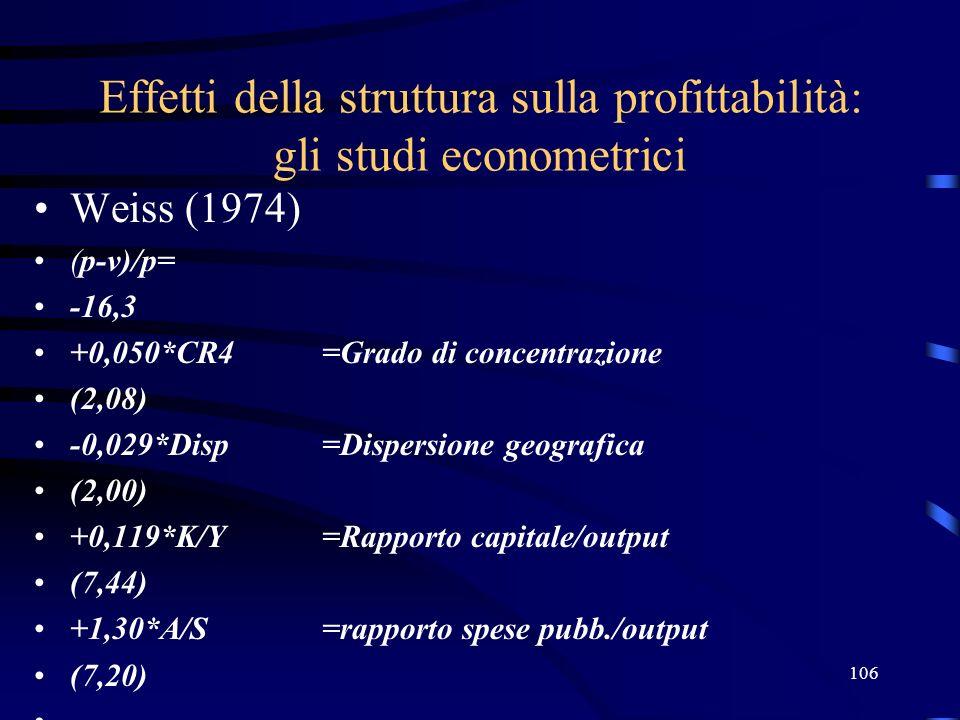 106 Effetti della struttura sulla profittabilità: gli studi econometrici Weiss (1974) (p-v)/p= -16,3 +0,050*CR4 =Grado di concentrazione (2,08) -0,029