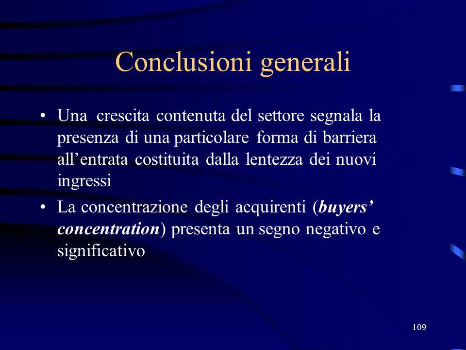 109 Conclusioni generali Una crescita contenuta del settore segnala la presenza di una particolare forma di barriera allentrata costituita dalla lente