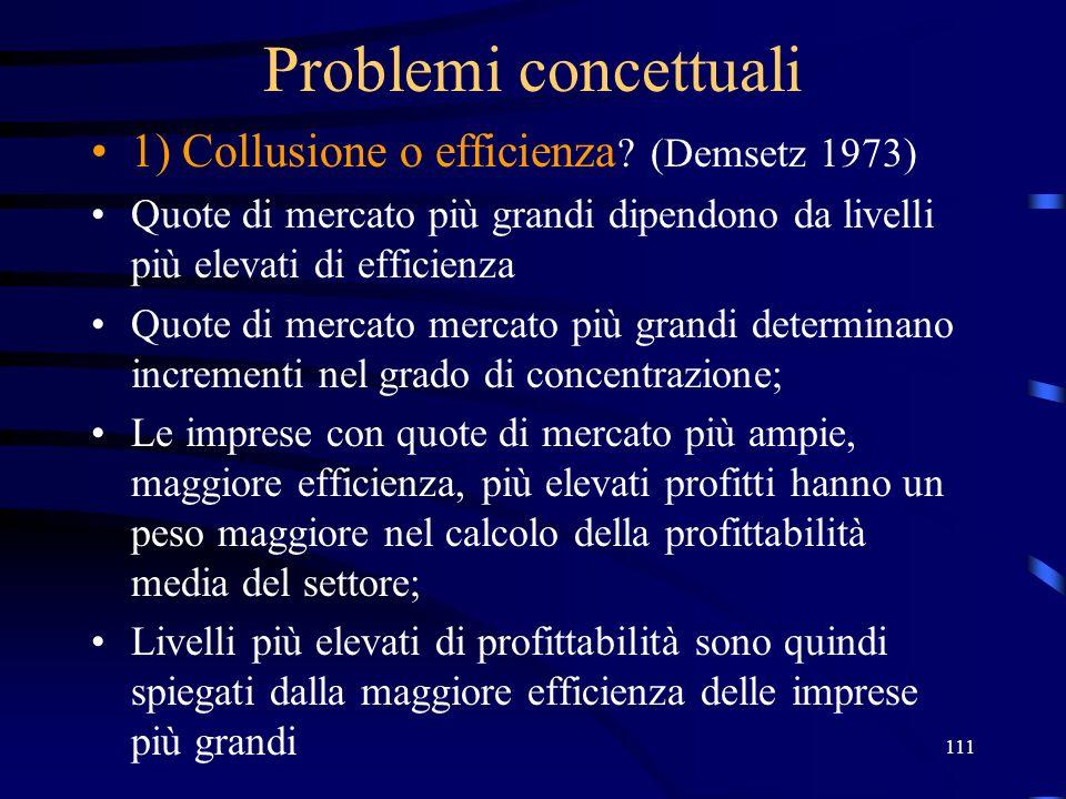 111 Problemi concettuali 1) Collusione o efficienza ? (Demsetz 1973) Quote di mercato più grandi dipendono da livelli più elevati di efficienza Quote