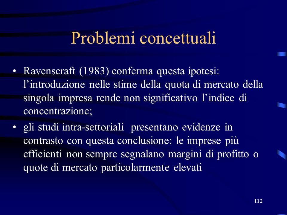 112 Problemi concettuali Ravenscraft (1983) conferma questa ipotesi: lintroduzione nelle stime della quota di mercato della singola impresa rende non