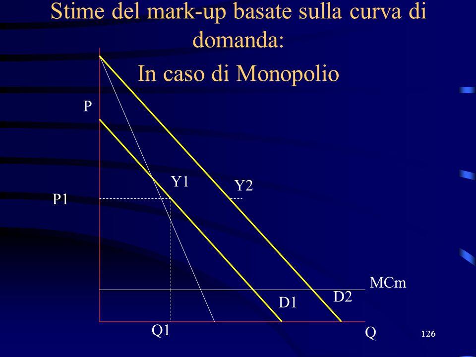 126 Stime del mark-up basate sulla curva di domanda: In caso di Monopolio Q P D1 Q1 P1 Y1 D2 Y2 MCm