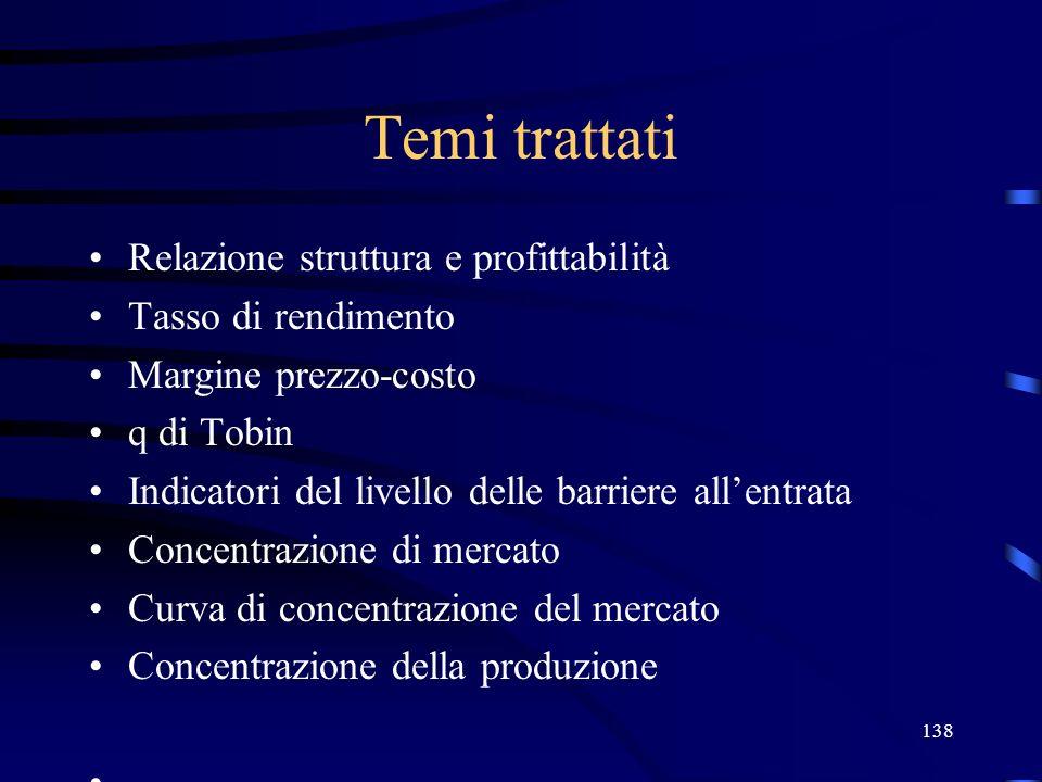 138 Temi trattati Relazione struttura e profittabilità Tasso di rendimento Margine prezzo-costo q di Tobin Indicatori del livello delle barriere allen