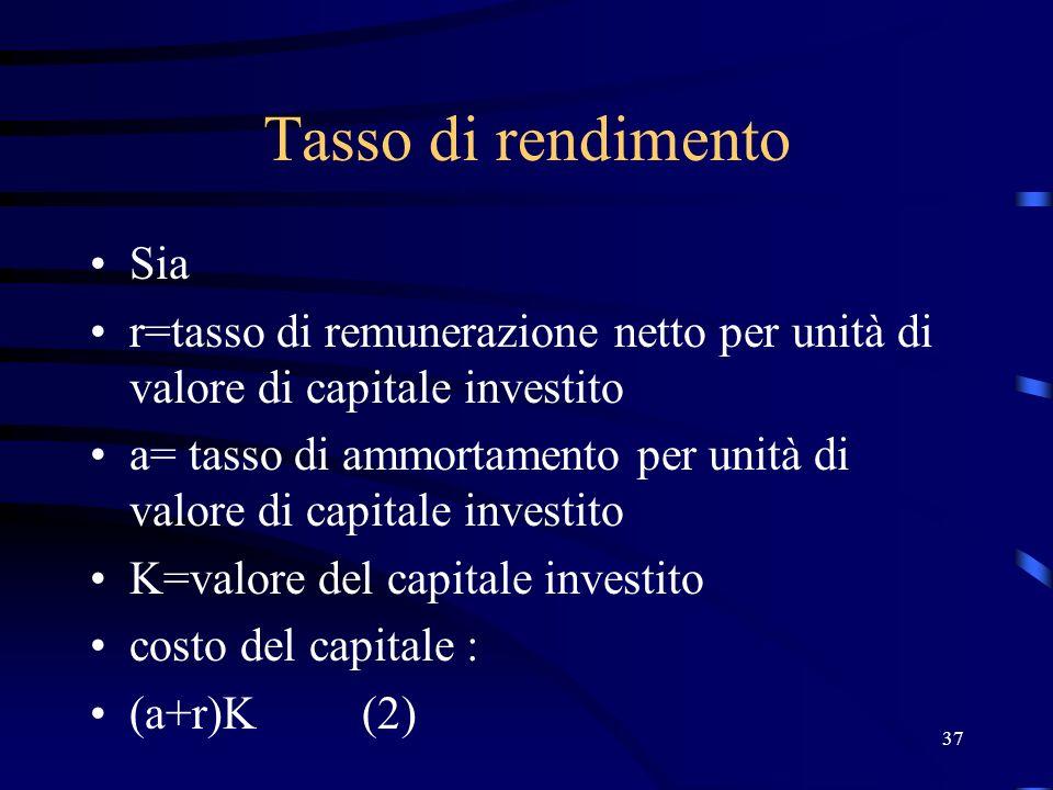 37 Tasso di rendimento Sia r=tasso di remunerazione netto per unità di valore di capitale investito a= tasso di ammortamento per unità di valore di ca