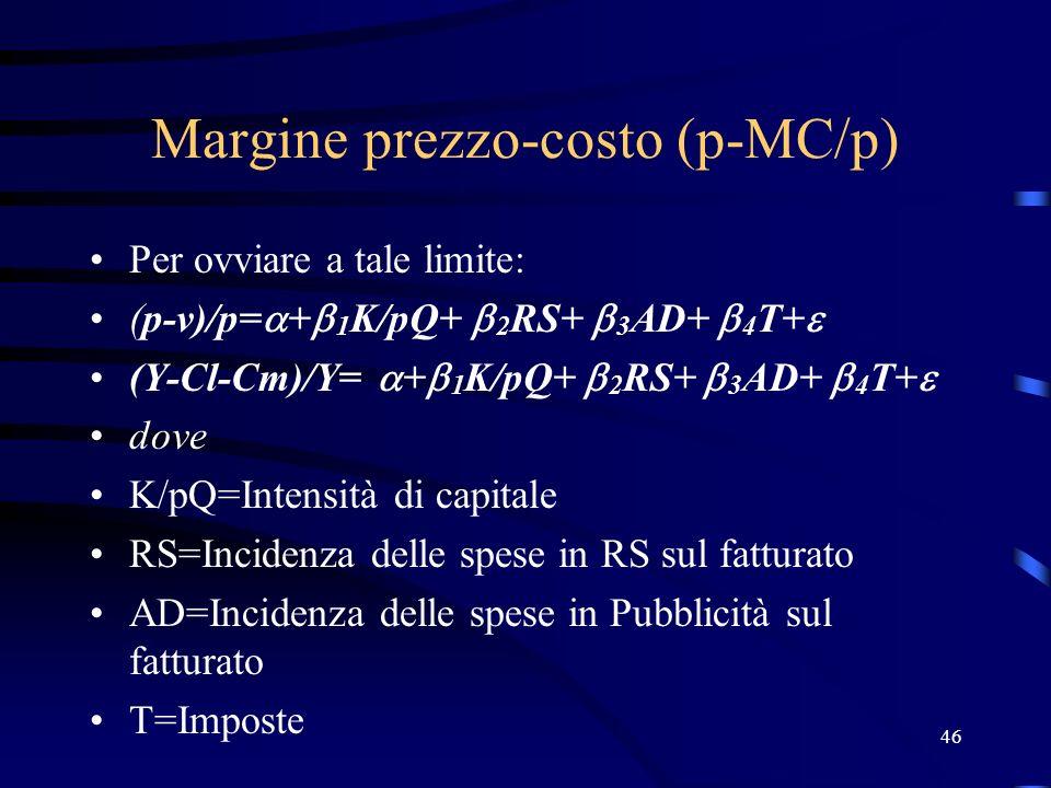 46 Margine prezzo-costo (p-MC/p) Per ovviare a tale limite: (p-v)/p= + 1 K/pQ+ 2 RS+ 3 AD+ 4 T+ (Y-Cl-Cm)/Y= + 1 K/pQ+ 2 RS+ 3 AD+ 4 T+ dove K/pQ=Inte