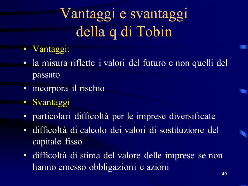49 Vantaggi e svantaggi della q di Tobin Vantaggi: la misura riflette i valori del futuro e non quelli del passato incorpora il rischio Svantaggi part