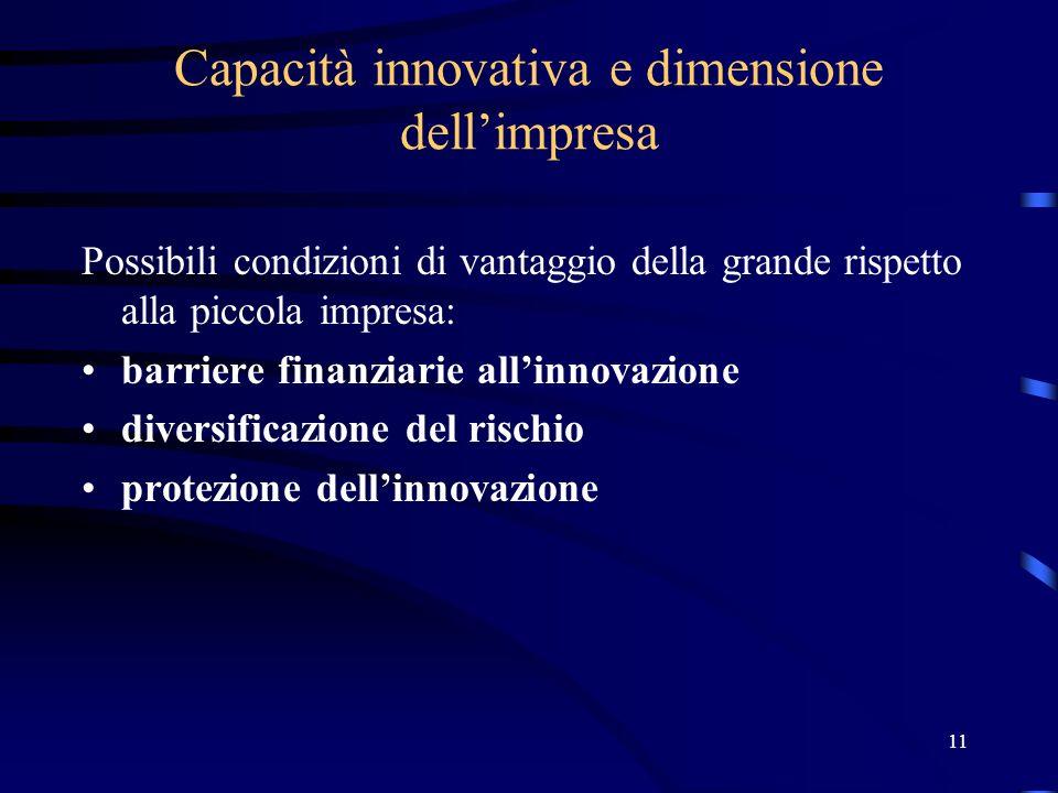 11 Capacità innovativa e dimensione dellimpresa Possibili condizioni di vantaggio della grande rispetto alla piccola impresa: barriere finanziarie allinnovazione diversificazione del rischio protezione dellinnovazione