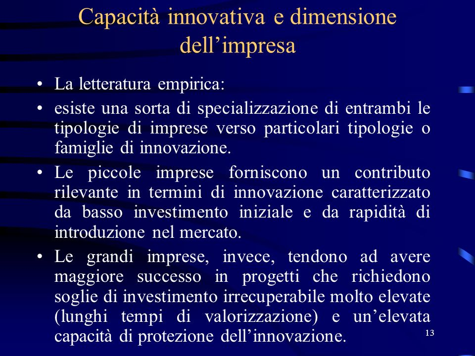 13 Capacità innovativa e dimensione dellimpresa La letteratura empirica: esiste una sorta di specializzazione di entrambi le tipologie di imprese verso particolari tipologie o famiglie di innovazione.