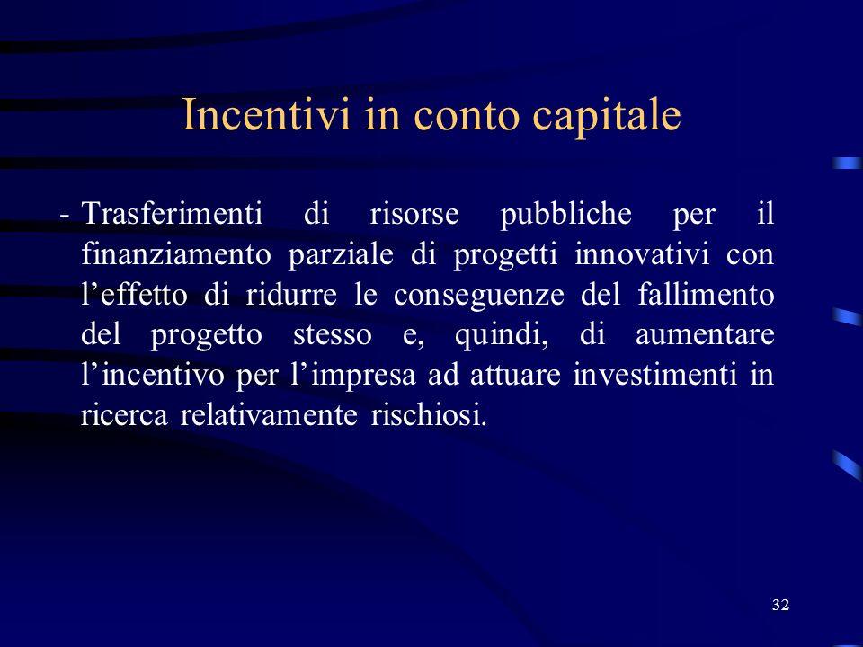 32 Incentivi in conto capitale -Trasferimenti di risorse pubbliche per il finanziamento parziale di progetti innovativi con leffetto di ridurre le conseguenze del fallimento del progetto stesso e, quindi, di aumentare lincentivo per limpresa ad attuare investimenti in ricerca relativamente rischiosi.