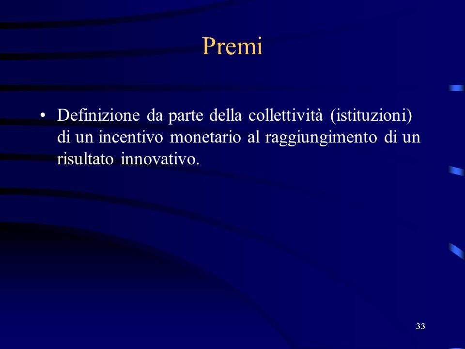 33 Premi Definizione da parte della collettività (istituzioni) di un incentivo monetario al raggiungimento di un risultato innovativo.
