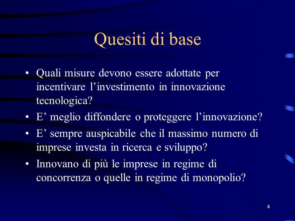 4 Quesiti di base Quali misure devono essere adottate per incentivare linvestimento in innovazione tecnologica.
