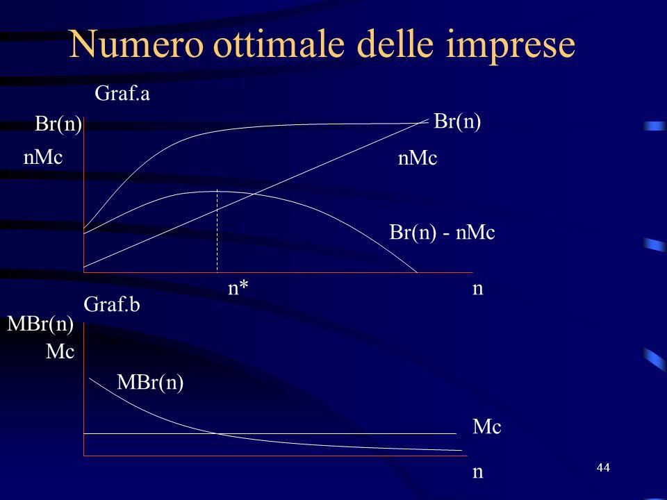 44 Numero ottimale delle imprese Br(n) nMc n Mc n MBr(n) Br(n) nMc Br(n) - nMc MBr(n) n* Graf.a Graf.b