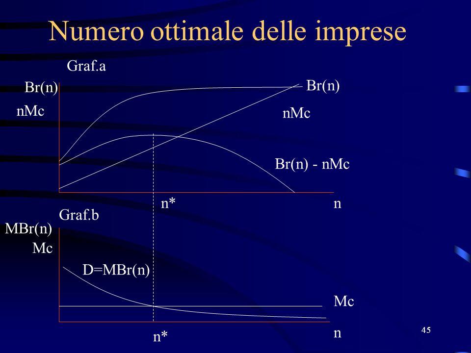 45 Numero ottimale delle imprese Br(n) nMc n Mc n MBr(n) Br(n) nMc Br(n) - nMc D=MBr(n) n* Graf.a Graf.b