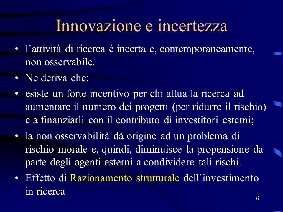 6 Innovazione e incertezza lattività di ricerca è incerta e, contemporaneamente, non osservabile.