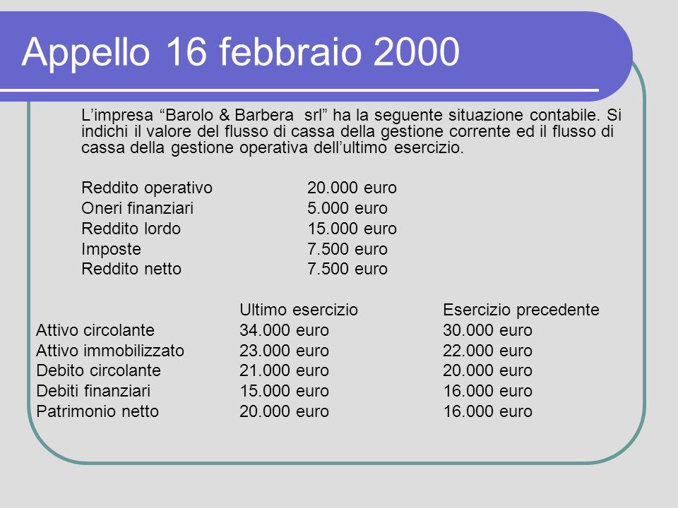 Appello 16 febbraio 2000 Limpresa Barolo & Barbera srl ha la seguente situazione contabile.
