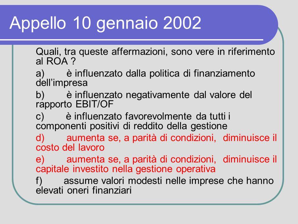Appello 10 gennaio 2002 Quali, tra queste affermazioni, sono vere in riferimento al ROA .