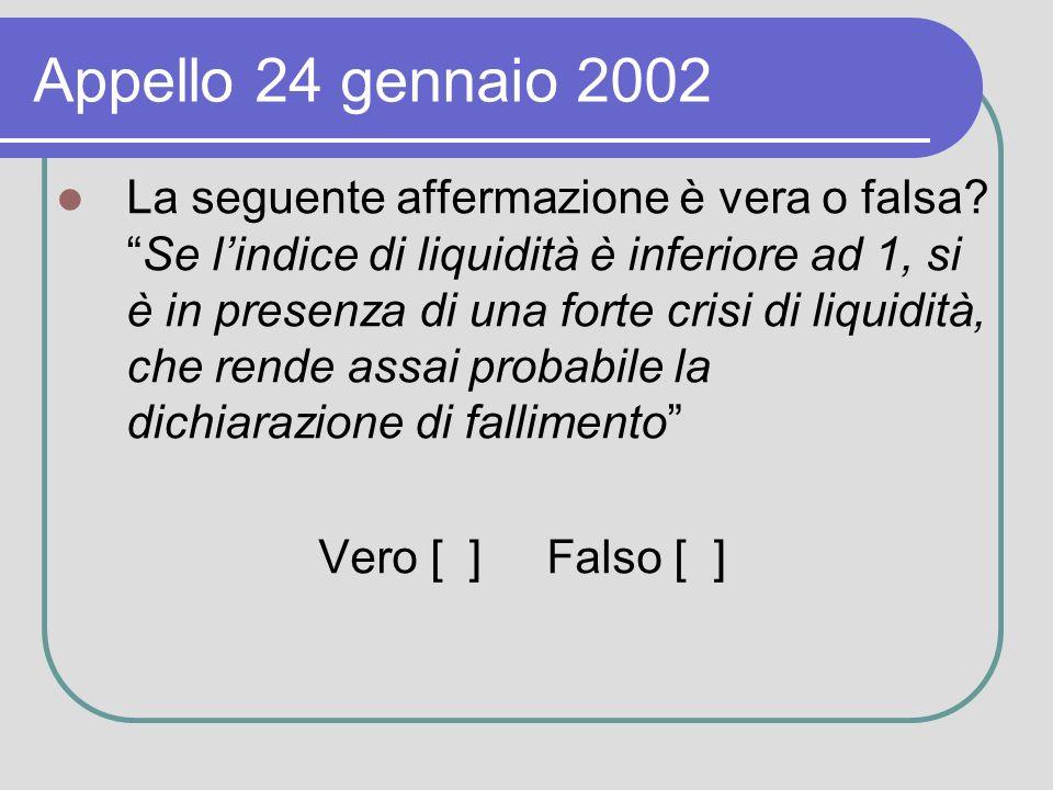 Appello 24 gennaio 2002 La seguente affermazione è vera o falsa Se lindice di liquidità è inferiore ad 1, si è in presenza di una forte crisi di liquidità, che rende assai probabile la dichiarazione di fallimento Vero [ ] Falso [ ]