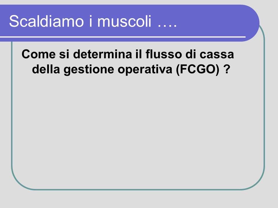 Scaldiamo i muscoli ….Come si determina il flusso di cassa della gestione operativa (FCGO) .