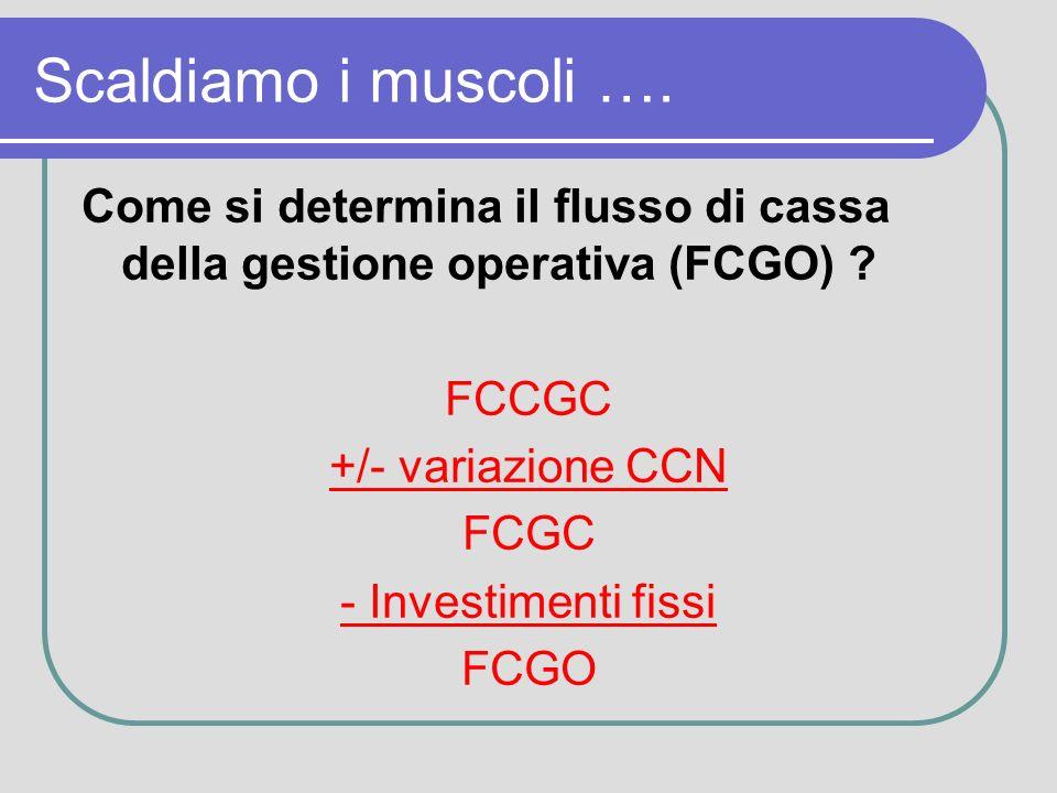 Scaldiamo i muscoli …. Come si determina il flusso di cassa della gestione operativa (FCGO) .