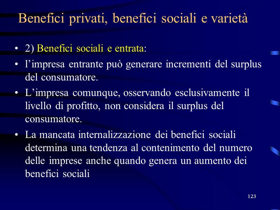 123 Benefici privati, benefici sociali e varietà 2) Benefici sociali e entrata: limpresa entrante può generare incrementi del surplus del consumatore.