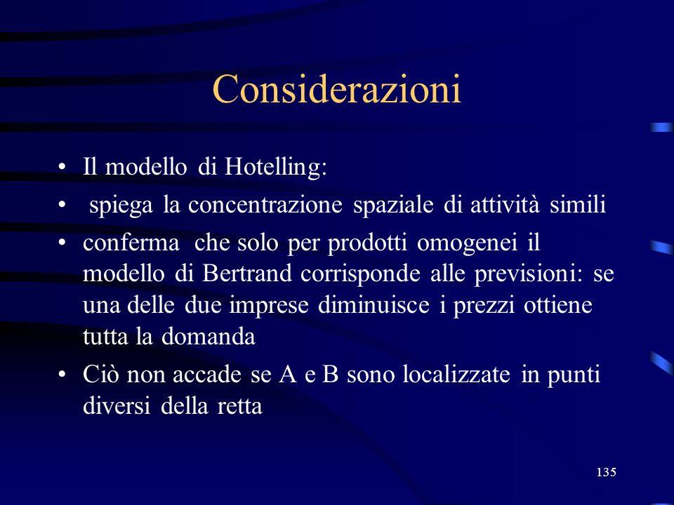 135 Considerazioni Il modello di Hotelling: spiega la concentrazione spaziale di attività simili conferma che solo per prodotti omogenei il modello di