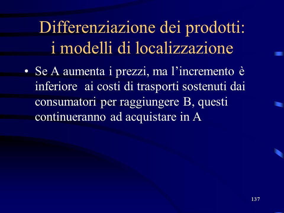 137 Differenziazione dei prodotti: i modelli di localizzazione Se A aumenta i prezzi, ma lincremento è inferiore ai costi di trasporti sostenuti dai c