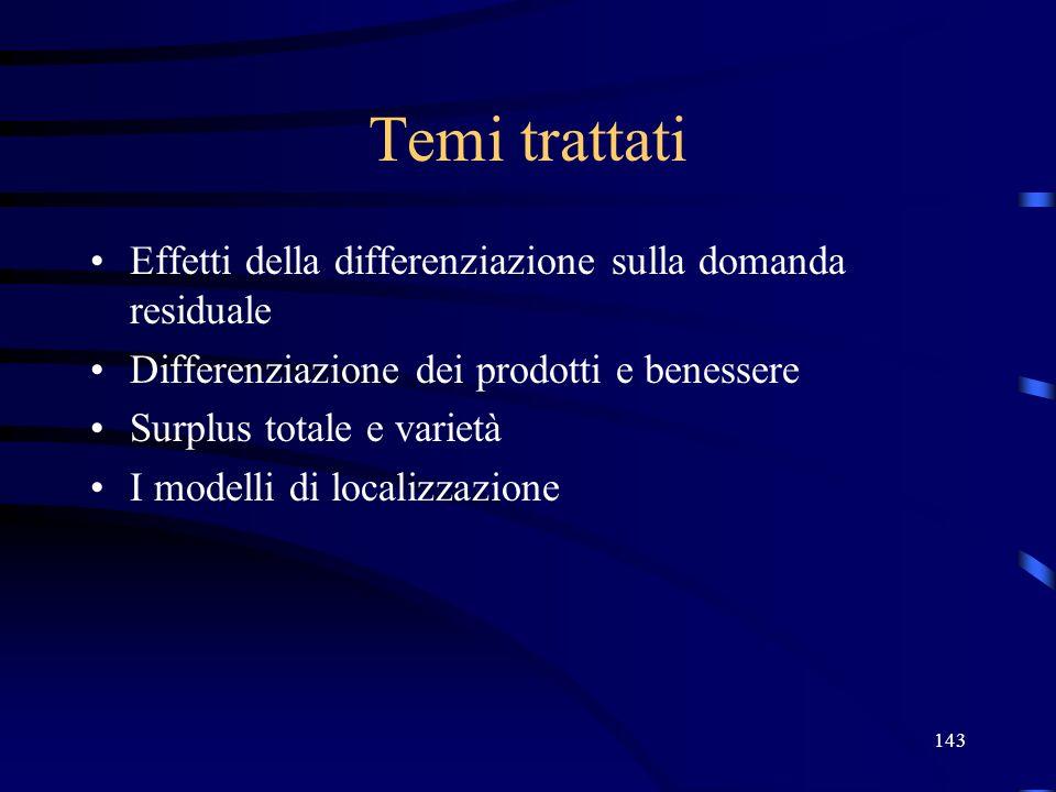 143 Temi trattati Effetti della differenziazione sulla domanda residuale Differenziazione dei prodotti e benessere Surplus totale e varietà I modelli