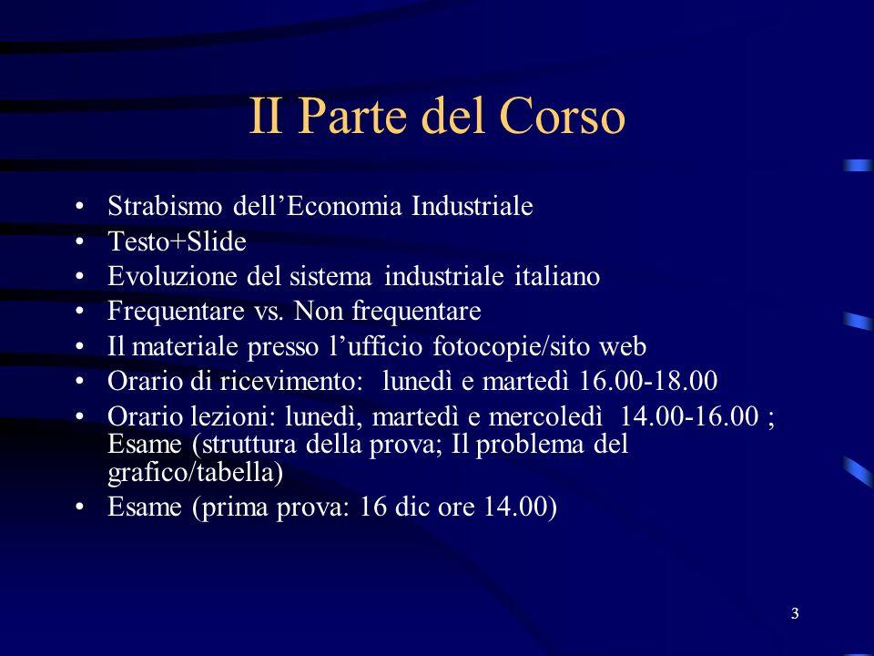 3 II Parte del Corso Strabismo dellEconomia Industriale Testo+Slide Evoluzione del sistema industriale italiano Frequentare vs. Non frequentare Il mat