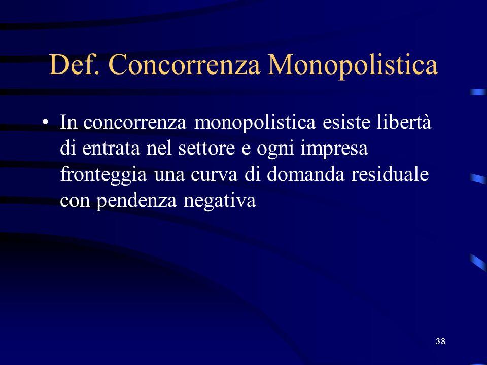 38 Def. Concorrenza Monopolistica In concorrenza monopolistica esiste libertà di entrata nel settore e ogni impresa fronteggia una curva di domanda re