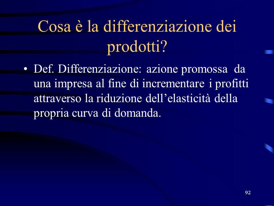 92 Cosa è la differenziazione dei prodotti? Def. Differenziazione: azione promossa da una impresa al fine di incrementare i profitti attraverso la rid