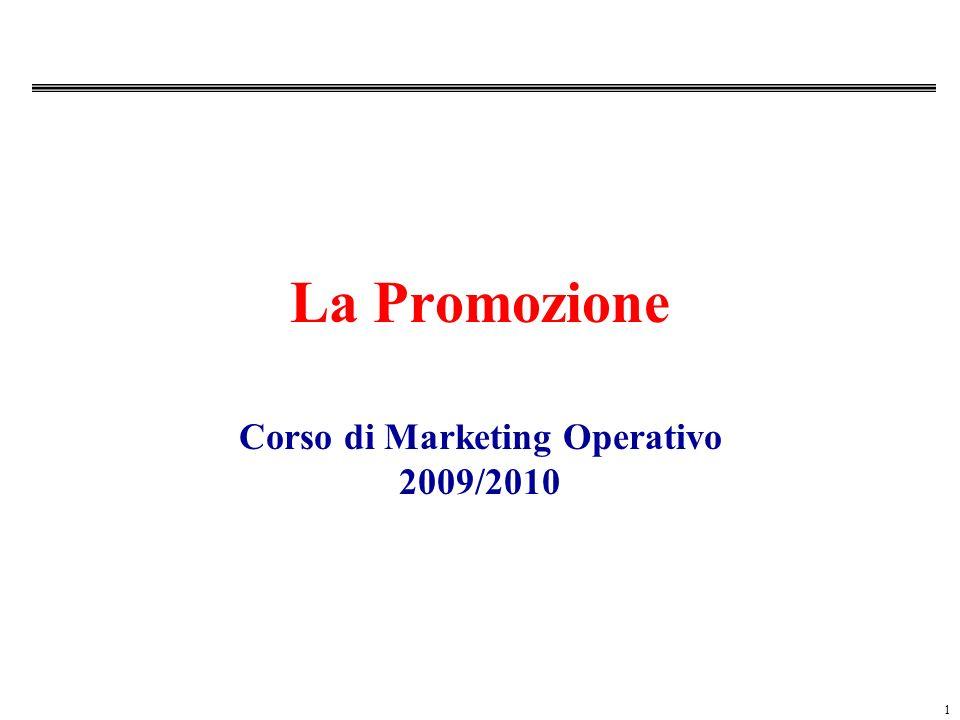 1 La Promozione Corso di Marketing Operativo 2009/2010