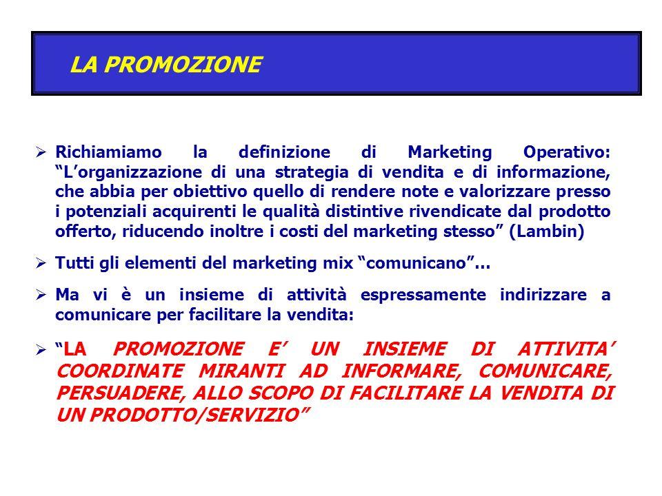 LA PROMOZIONE Richiamiamo la definizione di Marketing Operativo: Lorganizzazione di una strategia di vendita e di informazione, che abbia per obiettiv