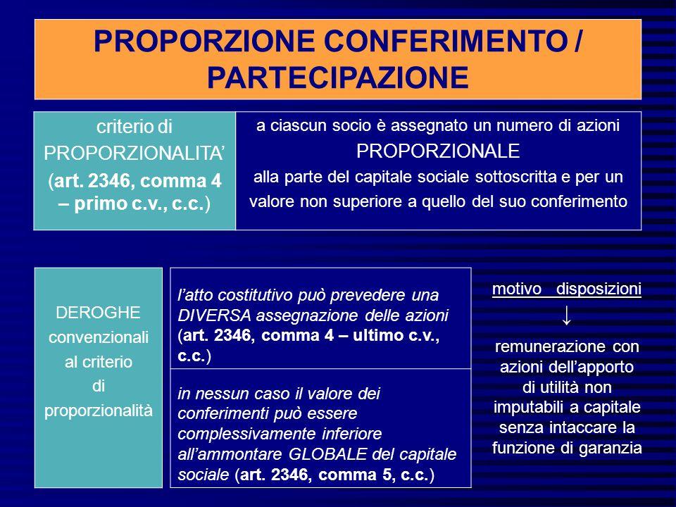criterio di PROPORZIONALITA (art.