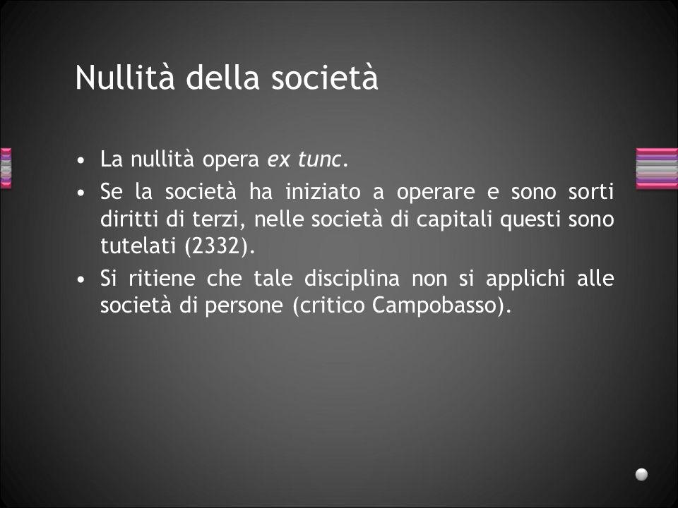 Invalidità della società Manca una disciplina specifica, vale quella dellinvalidità dei contratti.