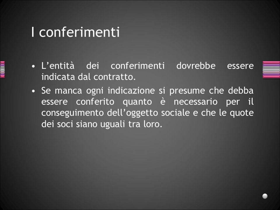 I conferimenti Beni conferibili: nessun limite, può essere conferita ogni entità suscettibile di valu-tazione economica e utile al conseguimento delloggetto sociale.