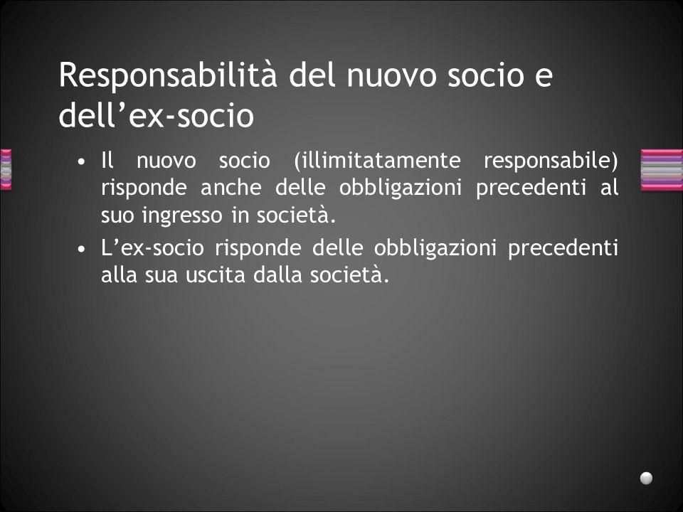 Responsabilità dei soci per le obbligazioni sociali In tutte le società di persone risponde prima di tutti la società con il suo patrimonio e i soci in via sussidiaria sui soci illimitamente responsabili.