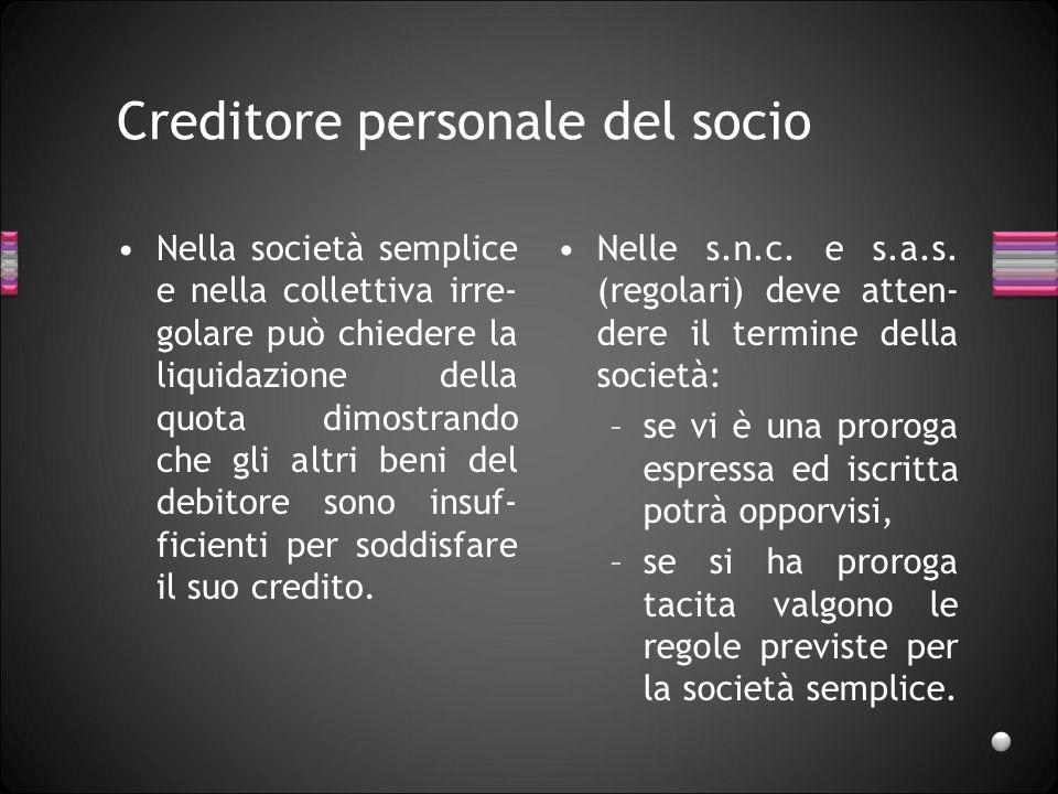 Creditore personale del socio Il creditore personale del socio non può aggredire il patrimonio sociale fin che dura la società.