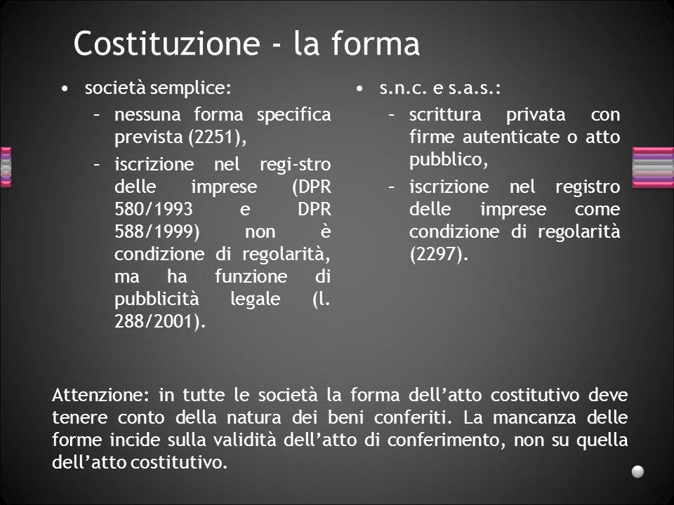 Tipi società di persone Società semplice.Società in nome collettivo (s.n.c.).