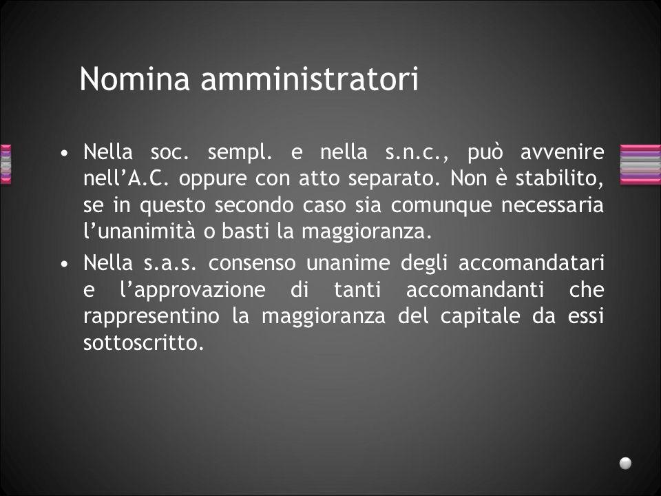 Rappresentanza (2) Le limitazioni convenzionali al potere di sono opponibili ai terzi: –nelle s.n.c.