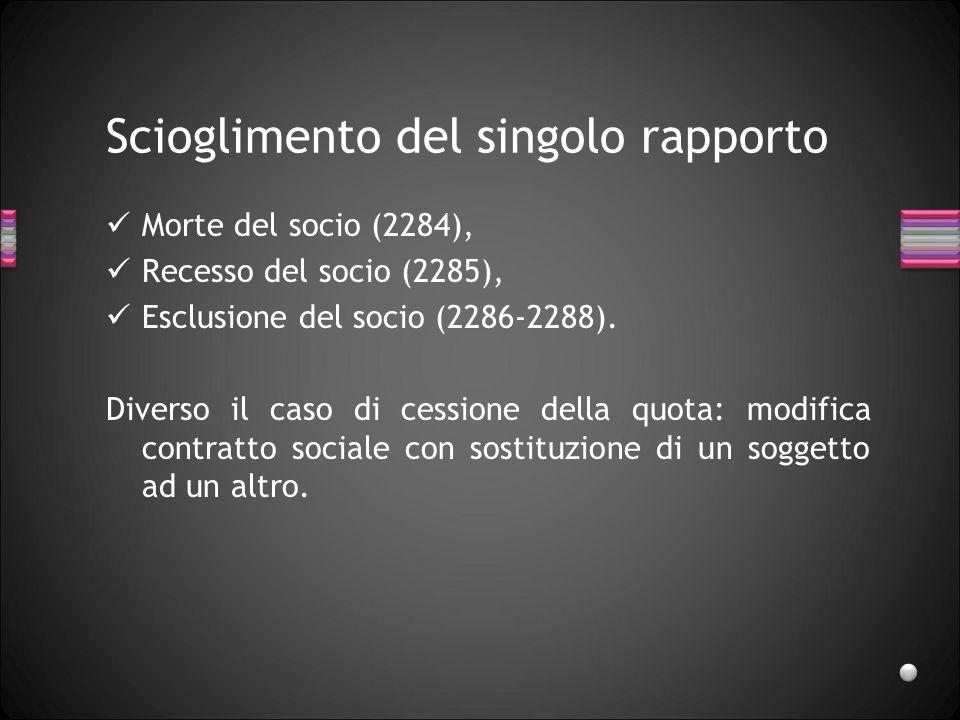 SCIOGLIMENTO limitato al singolo rapporto (artt.