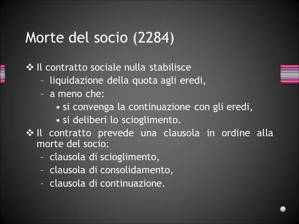 Scioglimento del singolo rapporto Morte del socio (2284), Recesso del socio (2285), Esclusione del socio (2286-2288).