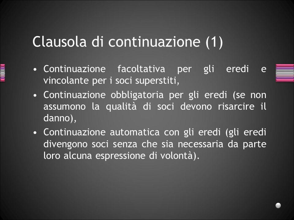 Clausola di consolidamento Secondo C., con la clausola di consolidamento i soci rinunciano preventivamente alle due alternative e si vincolano a liquidare gli eredi.