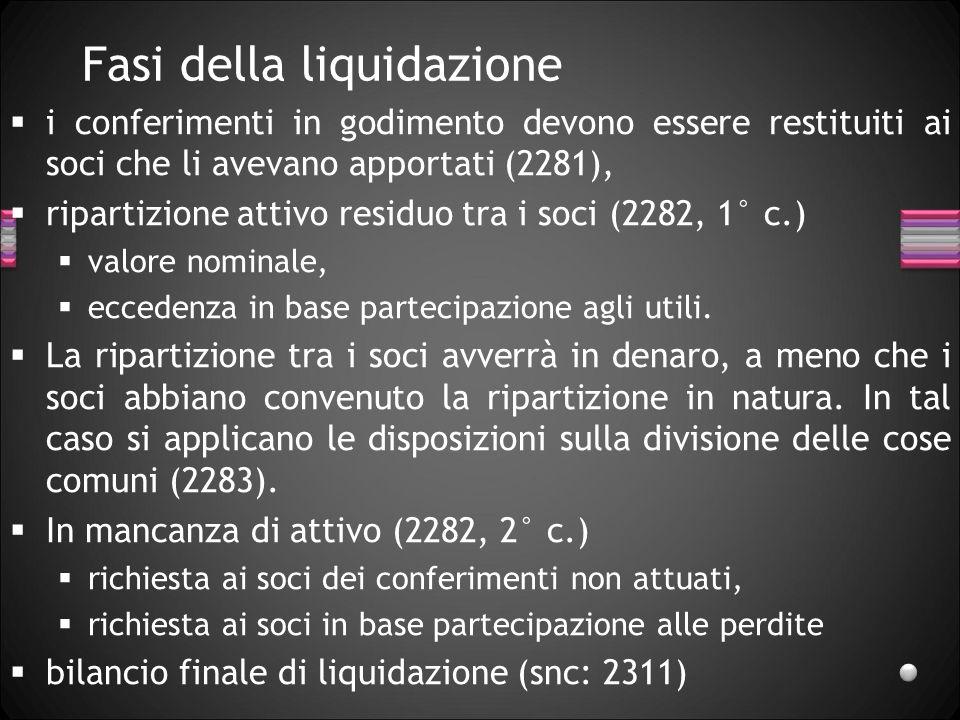 I liquidatori Gli amministratori devono redigere un conto (bilancio) della gestione successiva allultimo rendiconto (2277, 1° c.), essi passano le consegne ai liquidatori e redigono assieme ad essi un inventario (2277, 2° c.).
