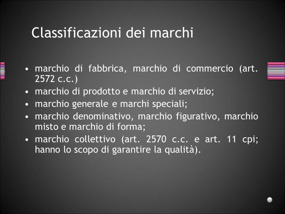 Classificazioni dei marchi marchio di fabbrica, marchio di commercio (art. 2572 c.c.) marchio di prodotto e marchio di servizio; marchio generale e ma