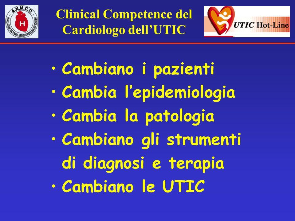 Clinical Competence del Cardiologo dellUTIC Cambiano i pazienti Cambia lepidemiologia Cambia la patologia Cambiano gli strumenti di diagnosi e terapia