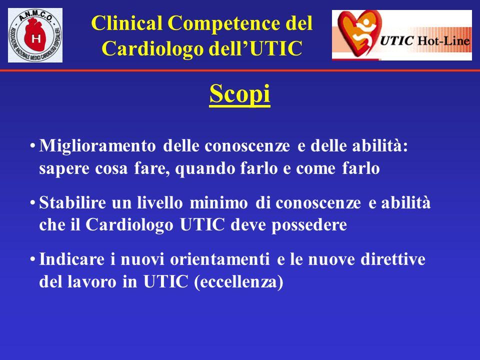 Clinical Competence del Cardiologo dellUTIC Scopi Miglioramento delle conoscenze e delle abilità: sapere cosa fare, quando farlo e come farlo Stabilir