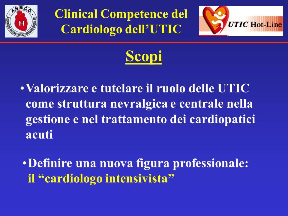 Clinical Competence del Cardiologo dellUTIC Scopi Valorizzare e tutelare il ruolo delle UTIC come struttura nevralgica e centrale nella gestione e nel