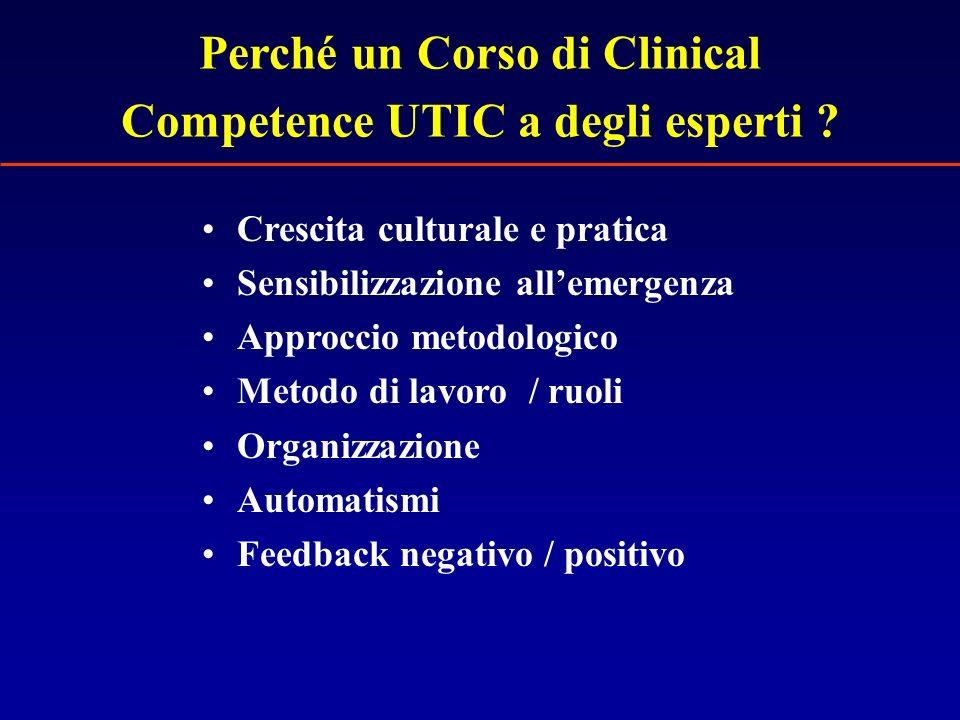 Perché un Corso di Clinical Competence UTIC a degli esperti ? Crescita culturale e pratica Sensibilizzazione allemergenza Approccio metodologico Metod