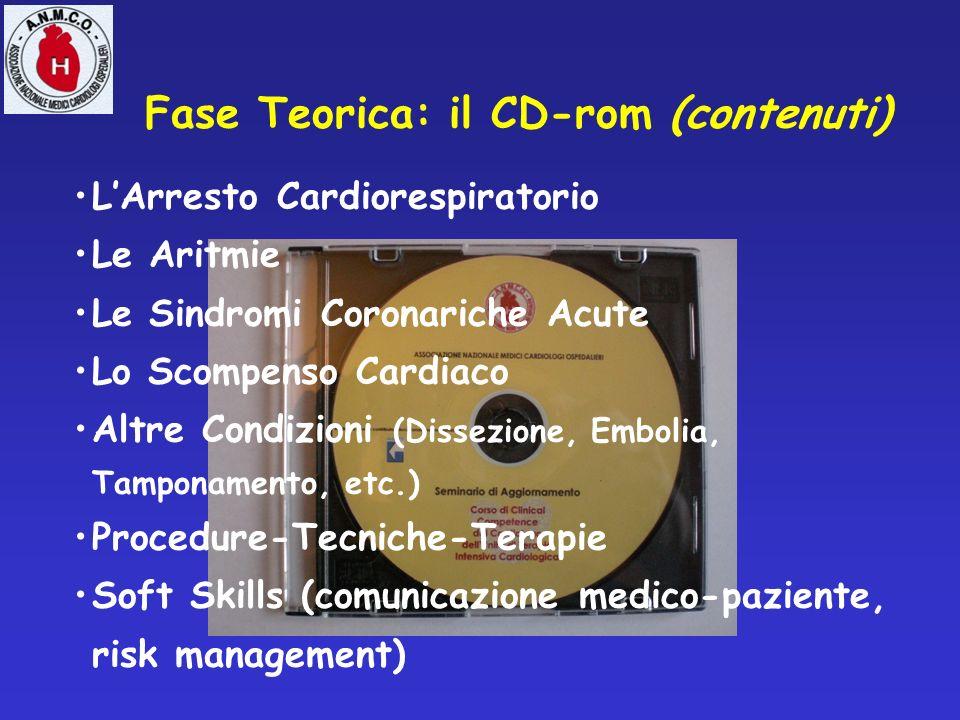 Fase Teorica: il CD-rom (contenuti) LArresto Cardiorespiratorio Le Aritmie Le Sindromi Coronariche Acute Lo Scompenso Cardiaco Altre Condizioni (Disse