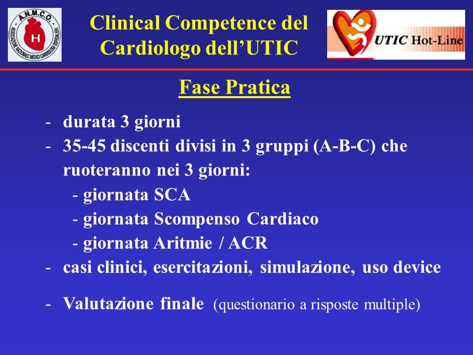 Clinical Competence del Cardiologo dellUTIC Fase Pratica -durata 3 giorni -35-45 discenti divisi in 3 gruppi (A-B-C) che ruoteranno nei 3 giorni: - gi